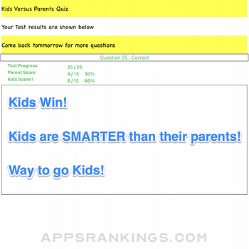 Kids Versus Parents Quiz App Ipad Images